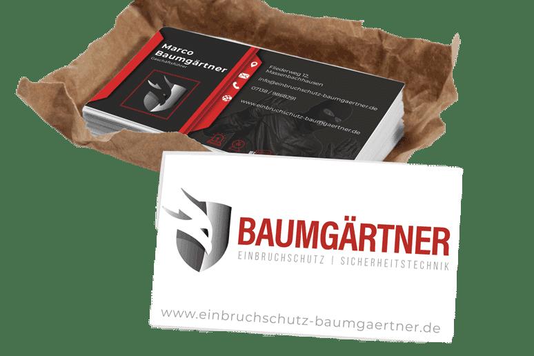 Visitenkarten Baumgärtner Einbruchschutz Sicherheitstechnik Heilbronn Leingarten